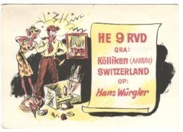 SWITZERLAND QXL Card U.S.K.A. Service Kölliken Aargau Hans Würgler Humoristisk Drawing - Suisse