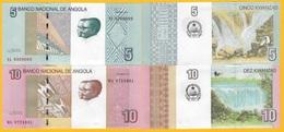 Angola Set 5 & 10 Kwanzas P-151A, P-151B 2012 UNC Banknotes - Angola