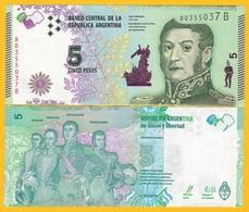 Argentina 5 Pesos P-359a 2015 (Suffix B) UNC Banknote - Argentina