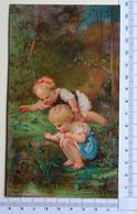 CHROMO LITHOGRAPHIE....JEUNES ENFANTS  A  LA MARE AUX GRENOUILLES...JOURNAL DES DEMOISELLES - Autres