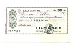 1976 - Italia - Banca Sella - Filatelia FILMONDO - Milano - [10] Assegni E Miniassegni