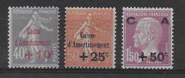 1928 - YVERT N° 249/241 * MLH CHARNIERE LEGERE  - COTE = 107 EUR. - CAISSE AMORTISSEMENT - Nuevos
