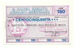 1976 - Italia - Banca Credito Agrario Bresciano - Associazione Commercianti Della Provincia Di Brescia - [10] Assegni E Miniassegni