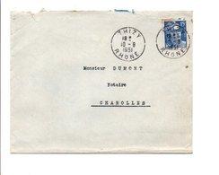 LETTRE DE THIZY RHONE 1951 - Poststempel (Briefe)