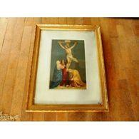 Crucifixion Christ Image Pieuse Cadre Bois Dore Verre / S257-23 / Lapt - Non Classés
