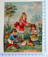CHROMO LITHOGRAPHIE..GRAND FORMAT.....AU JARDIN ....ENFANTS ET PETITS LAPINS - Autres