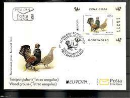 MONTENEGRO  2019,EUROPA CEPT,NATIONAL BIRDS,TETRAO UROGALLUS,BLOCK, FDC - Pájaros