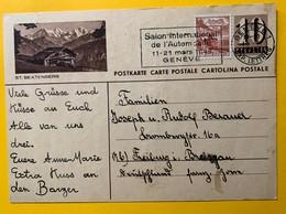 9322 - Entier Postal Illustration St.Beatenberg Flamme Genève Salon De L'Automoblie 19.02.1948 - Entiers Postaux