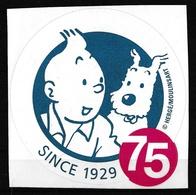 Tintin : Autocollant Tintin à L'occasion Du 75ème Anniversaire De Sa Naissance - Editions Hergé/Moulinsart. - Autocollants