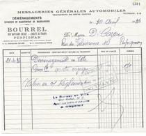 DEMENAGEMENTS BOURREL RUE DIEUDE PERPIGNAN MESSAGERIES AUTOMOBILES POUR CAZAU PYRENEES ORIENTALES - Documents Historiques