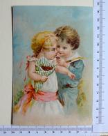 CHROMO LITHOGRAPHIE..GRAND FORMAT.....ENFANTS MANGEANT DES BONBONS - Vieux Papiers