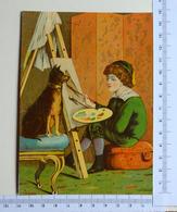 CHROMO LITHOGRAPHIE..GRAND FORMAT.....ENFANT....ARTISTE PEINTRE DESSINANT SON CHIEN - Autres