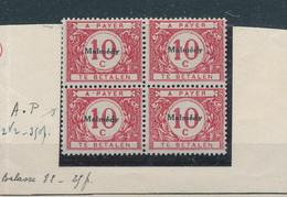 30/546 -- CANTONS DE L'EST - Timbre-Taxe OC80 En Bloc D - 1 X Variété A ° P Neuf Sans Charnière , 1 TP Charniéré. - Guerre 14-18