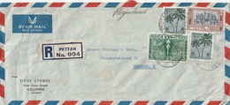 Ceylon PETTAH REGISTERED AIRMAIL COVER TO Germany 1952 - Asia (Other)