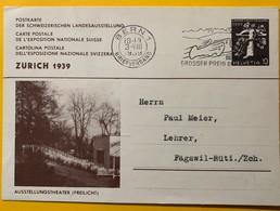 9329 - Entier Postal Landesausstellung Zürich 1939 Ausstellungstheater 10 Ct Bern 3.08.1939 - Entiers Postaux