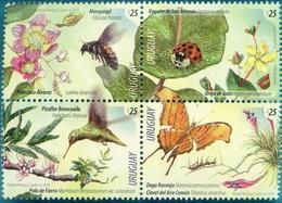 Uruguay 2019 ** Serie Primavera: Flores Con Aves E Insectos. Picaflor, Mariposa, Cochinita, Clavel, Mangangá. - Mariposas