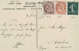 TP N ° 108, 109 Et 137 Sur Carte Postale De Paris Pour Ansbach ( Bavière ) - Postmark Collection (Covers)