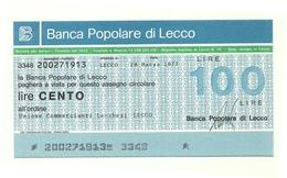 1977 - Italia - Banca Popolare Di Lecco - Unione Commercianti Lecchesi - Lecco - [10] Assegni E Miniassegni