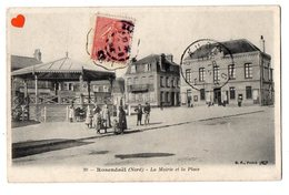 40917-ZE-59-Rosendaël-La Mairie Et La Place---------------animée-kiosque - Andere Gemeenten
