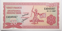 Burundi - 20 Francs - 2007 - PICK 27d.5 - NEUF - Burundi