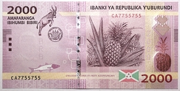 Burundi - 2000 Francs - 2015 - PICK 52a - NEUF - Burundi