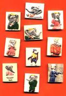 Série Complete De 10 Feves Faience Babar - Dautrey 1991 - Cartoons