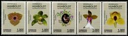 Ecuador 2019 Geographer Alexander Von Humboldt Flowers Orchids Strip Of 5v MNH - Orchidee