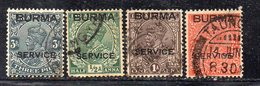 XP3617 - BIRMANIA BURMA 1937 , 4 Valori Usati (2380A) Servizio - Burma (...-1947)