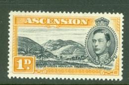 Ascension: 1938/53   KGVI    SG39a    1d   Black & Yellow-orange  [Perf: 13½]  MH - Ascension