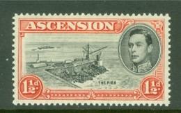 Ascension: 1938/53   KGVI    SG40    1½d   Black & Vermilion  [Perf: 13½]  MH - Ascension
