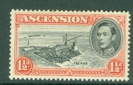 Ascension: 1938/53   KGVI    SG40b    1½d   Black & Vermilion  [Perf: 13]  MH - Ascension