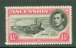 Ascension: 1938/53   KGVI    SG40d    1½d   Black & Rose-carmine  [Perf: 14]  MH - Ascension