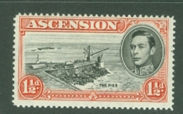 Ascension: 1938/53   KGVI    SG40e    1½d   Black & Carmine  [Perf: 14]  MH - Ascension