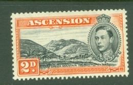 Ascension: 1938/53   KGVI    SG41    2d   Black & Red-orange  [Perf: 13½]  MH - Ascension