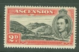Ascension: 1938/53   KGVI    SG41c    2d   Black & Scarlet  [Perf: 14]  MH - Ascension