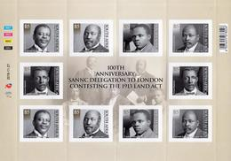 South Africa - 2019 100th Anniversary SANNC Delegation To London Sheet (**) - Sud Africa (1961-...)