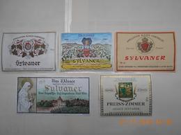 """Lot De 5 étiquettes De Vin """" ALSACE """"  SYLVANER  ( Voir Descriptif) - Collections, Lots & Séries"""