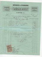 Auch (32 Gers) Facture 1881 IMPRIMERIE  FELIX FOIX   Avec Son Timbre Fiscal  (PPP21168) - Drukkerij & Papieren