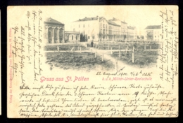 AUSTRIA - Gruss Aus St. Polten - K.u.k. Militar-Unter-Realschule / Year 1900 / Long Line Postcard Circulated - St. Pölten