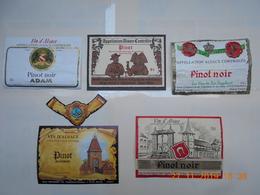 """Lot De 5 étiquettes De Vin """" ALSACE """"    PINOT NOIR   ( Voir Descriptif) - Colecciones & Series"""