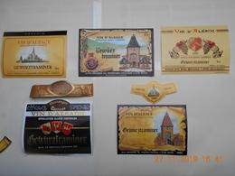 """Lot De 5 étiquettes De Vin """" ALSACE """"    GEWURTSTRAMINER   ( Voir Descriptif) - Collections, Lots & Séries"""