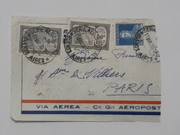 Devant De Lettre D'Argentina - Via Aerea - Aeropostale Envoyé Vers Paris ... Lot40 . - Argentine