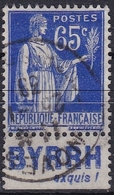 """Type Paix 65 C. Bleu Avec Bandelette Publicitaire """"BYRRH"""" OBL - 1932-39 Paix"""