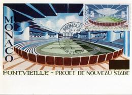 Monaco Carte Maximom --1983-- FONTVIELLE PROJET DE NOUVEAU STADE - Storia Postale