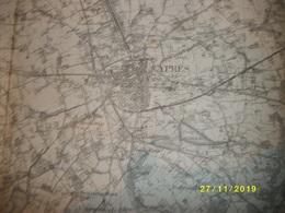 Topografische / Stafkaart Van Ieper (Poperinge - Moorslede - Ledegem - Moorsele - Menen - Wervik - Warneton) - Mapas Topográficas