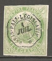 TELEGRAPHE  Yv. N° 2 ND  (o)   50c  Vert  Cachet PALAIS-LEGISLATIF Cote  275 Euro BE  R 2 Scans - Telegraph And Telephone