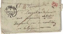 Pli De St-Quentin => Iseghem. 7/09/1842. Adressé à Mr Deryckere, Négociant En Brosses. Cachet Iseghem Type 18. - 1830-1849 (Belgique Indépendante)