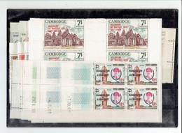 CAMBODGE - TP BLOCS DE 4 COINS DATES - TP N°141/149 - 175/177 - 187/191 - XX - PA N°15/18 - XX - 1963 - Kambodscha
