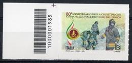 Italia 2019 -  80° Anniversario Del Corpo Nazionale Vigili Del Fuoco Codice A Barre MNH ** - 6. 1946-.. Republic