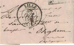 Pli De Lille => Iseghem. 28/10/1848. Marque De Passage: R. FRONT., Et France Par Mouscron. Rare. - 1830-1849 (Belgique Indépendante)